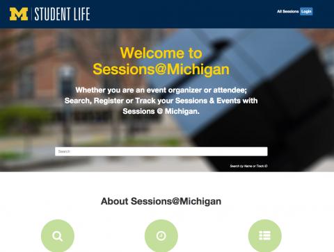 Sessions at michigan homepage - screenshot