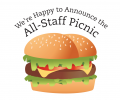 Staff Picnic Flyer with a huge hamburger pictured